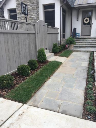 Paver walk, steps and shrubs