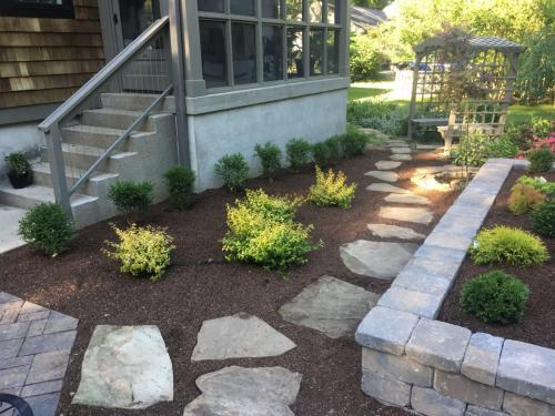 Flagstone, pavers, shrubs