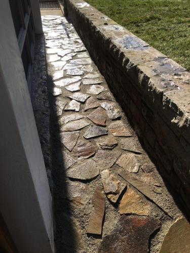 Flagstone walkway and wall